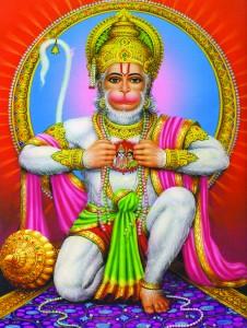 Hanuman mit offener Brust Rama und Sita
