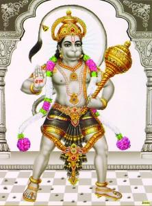 Hanuman stehend in Grautönen