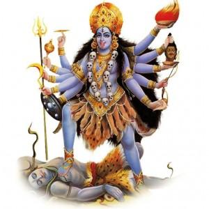 Kali tanzt auf Shiva - vor wießem Hintergrund